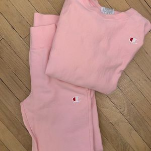 CHAMPIONS Reverse weave Candy pink sweatsuit